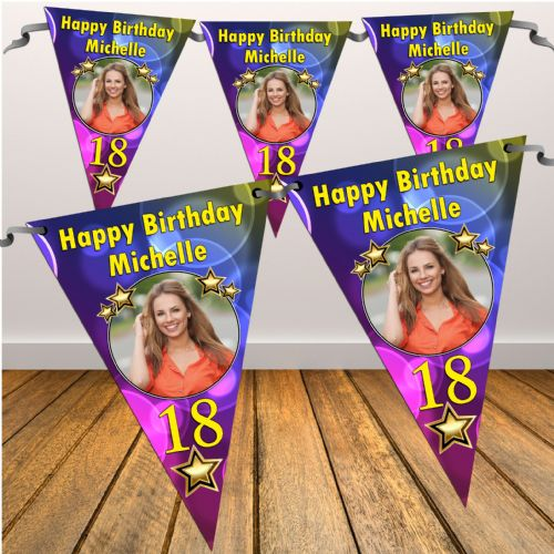 Personalised Coloured Bubbles Happy Birthday Flag PHOTO Bunting Banner - N36 ANY AGE